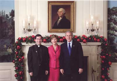 Fr. Frank with George and Laura Bush