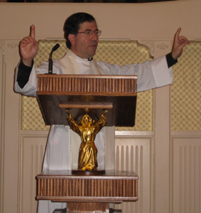 Fr. Pavone encouraging candidates to be Missionaries of the Gospel of Life