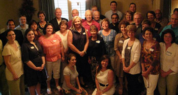 Jim Pinto (second row, far left) and Joy Pinto, (center) meet with Pro-life activists in the home of Dr. Del and Peg Hah