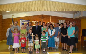 Gp. Picture: Jim Pinto with group that assembled to hear about the Pro-life Freedom Rides Campaign. St. Stephen Catholic Church Fellowship Hall. Pensacola, Florida (June 26)