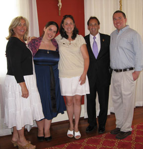 Missionaries of the Gospel of Life gathered to support Elizabeth Burgess in her promise ceremony, June 27th. Joy Pinto, Beth Burgess (newly professed MEV) Mary Beth Cyr, Jim Pinto and Ernie Cyr