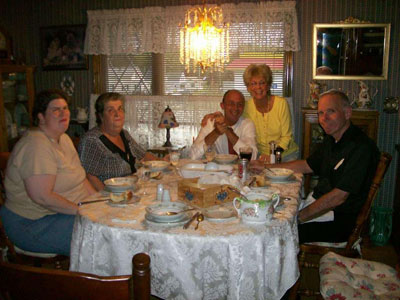 From Left to Right: Janet, Lorraine, Scott Michaud,  his mother Lorraine, Fr. Denis