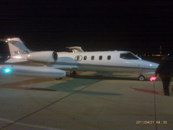 Lear jet from Kalitta MedFlight of Ypsilanti, Michigan. They donated the plane and a four-person crew to transport Baby