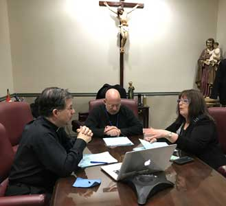 Janet Morana, Fr Stephen Imbarrato and Fr Frank Pavone put the finishing touches on the episodes of Defending Life that