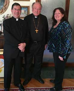 Janet and Fr Frank with Cardinal Renato Martino in Rome this week. He is the former papal nuncio to the United Nations and former president of the Pontifical Council for Justice and Peace.