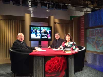 This week our <em>Defending Life</em> series is being taped at EWTN; above is Fr. Frank with Janet Morana and our new full-time associate, Fr. Stephen Imbarrato.