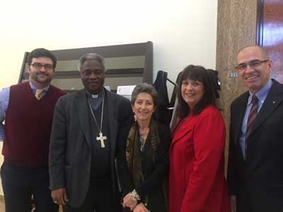From left to right, Geoffrey Strickland of the Priests for Life Rome Office, Cardinal Turkson, Dr Flaminia Giovanelli, J
