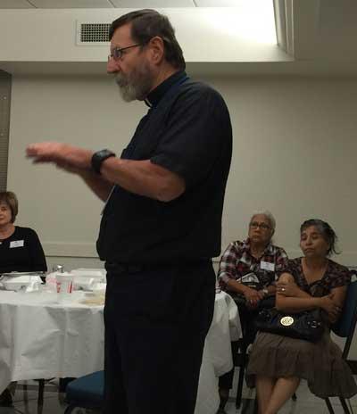 Fr Mitch speaking to CVFW pilgrims last night