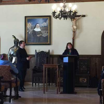 Janet Morana talks to pilgrims.