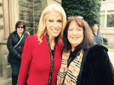 Janet with Kellyanne Conway, Counselor to the President.  They spoke about the Silent No More Awareness Campaign. Kellya