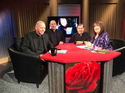 The fulltime priests of Priests for Life, along with Executive Director Janet Morana, at EWTN this week to tape the 33rd Season of Defending Life, a series on abortion that Mother Angelica asked Fr. Frank Pavone to start in 1994.