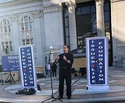 Fr. Frank speaking at the StandUp4Life Rally in Oakland, CA