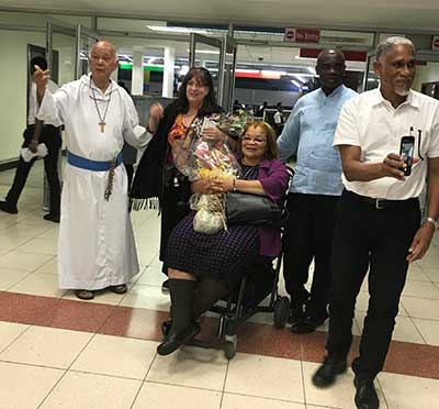 Alveda and Janet got a warm welcome as they arrived in Jamaica to help stop the spread of abortion there. Father Richard