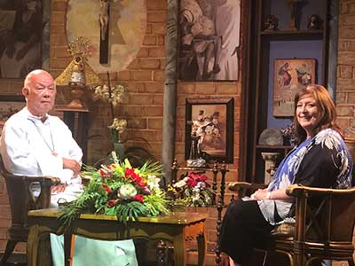 Janet being interviewed by Father Richard Ho-Lung, MOP, Founder of the Missionaries of the Poor, for EWTN