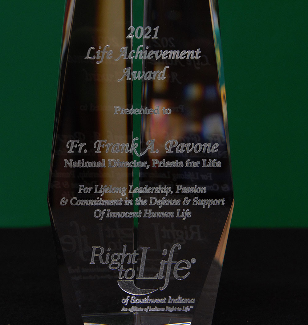 Fr. Frank Pavone receives Lifetime Achievement Award from SW Indiana Right to Life - August 2021