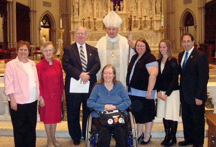 Professed Missionaries of the Gospel of Life-Lay Associates with Bishop David A Zubik and Jim Pinto, St. Paul Cathedral, Pittsburgh, PA.   Front: Mary Ann Mulkerin  Back: Revamarie Savage, Mary Catherine Scanlon, Everett Burns, Bishop Zubik, Gitthaline (Candie) Gagne, Nicole Shirilla and Jim Pinto