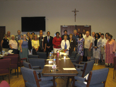 Pro-life Freedom Rides Mobilization Meeting Gp. Picture of Jim Pinto with Clergy and Leaders