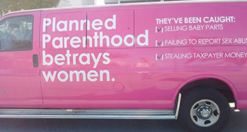 Students for Life Protest Planned Parenthood van side #2