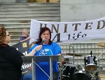 Deb Diasio, Regional Coordinator in York, PA, shared her testimony of abortion regret and healing at the New York March