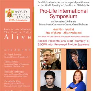 Join Priests for Life at a Pro-Life International Symposium on September 23rd in the Pennsylvania Convention Center, Grand Ballroom