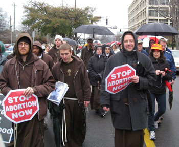 Fr. Anthony Mary, MFVA and the Franciscan Missionaries of the Eternal Word, were among those who marched for life.