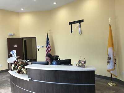 The new reception lobby