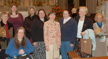 Gail Campbell is in the center. There are three registered MEVs in the photo. At the far left is Mary Catherine Scanlon, seated is Mary Ann Mulkerin, and behind Gail's right shoulder is Candie Gagne, the creator of the Pittsburgh Life Cell FaceBook page. The others are (in the back, from left to right) Rosalyn Rapinski, Priscilla Fello, Mary Kay Brown, Mary Robson, and Mary Zangrelli.