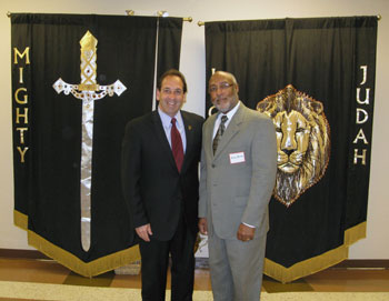 Jim Pinto, M.E.V., with Bishop Demetrics Roscoe. Bp. Demetrics and his wife, Pauline, co-pastor Living Church Ministries where the Freedom Ride Vision was cast and embraced by over 40 leaders in Birmingham, AL.