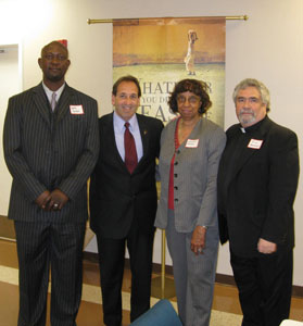 Pastor Nichols, Jim Pinto, Earnestine Braxton and Pastor Terry Gensemer.