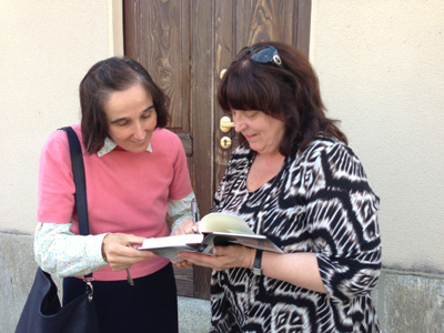 Janet signs her book, Recall Abortion, for Dr. Gianna Emanuela Molla, the child for whom St. Gianna sacrificed her life.