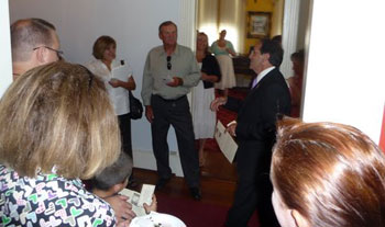 Jim addressing people on the Pro-life Freedom Rides during MEV Ceremony Reception in the historic Portier House named after the first bishop of Mobile).