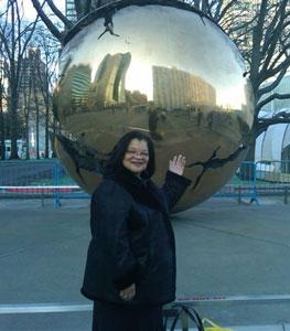 Dr Alveda King outside the UN after her address on Motherhood