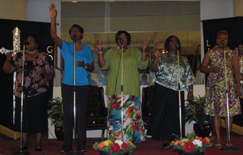 Living Church Ministry Worship Team leading the congregation in praise to the Lord.