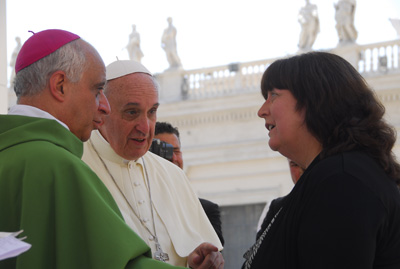 Janet speaks to the Holy Father about Priests for Life and the Silent No More Awareness Campaign.