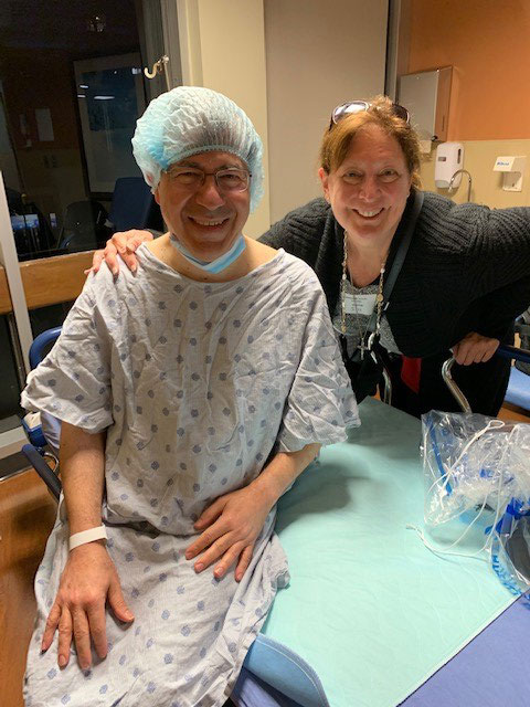 Fr Frank Pavone with Janet Morana, executive director of PFL, right before surgery.