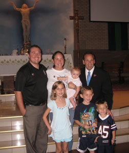 Director of Pensacola 40 Days for Life and Missionary of the Gospel of Life, Ernie Cyr and wife, Mary Beth, MEV, with daughter, Therese. Cyr Children:  Jacqueline, Brendan and Aiden