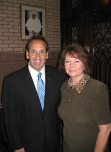 Jim Pinto with Valerie Schumm, Director of Alpha Pregnancy Resource Center, Pensacola, Fl.  Alpha has been offering help to women since 1973.