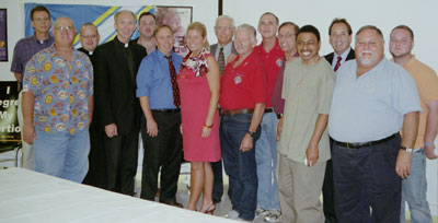 Local Knights of Columbus, Pastor Michael Deering (First Row) and Deacon Vincent Bresowar with Jacquie Stalnaker, S.N.M.A.