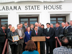 Jim Pinto at the Alabama Statehouse, with legislators and representatives of the Christian Coalition, lobbying on behalf of a bill that will protect unborn victims of violence.
