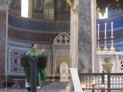 Fr. Frank preaching the homily in the Basilica of Saint John Lateran, the Pope