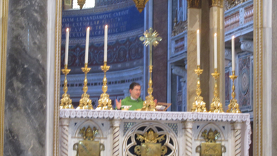 Fr. Frank celebrating Mass at the main altar in the Basilica of Saint John Lateran, the Pope