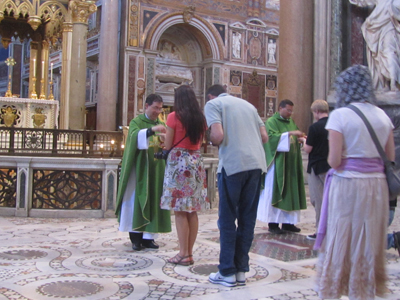 Fr. Frank distributing Communion in the Basilica of Saint John Lateran, the Pope