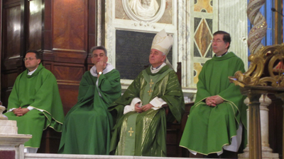 Fr. Frank concelebrates Mass in the Church of Santa Maria in Trastevere with Archbishop Vincenzo Paglia, President of th