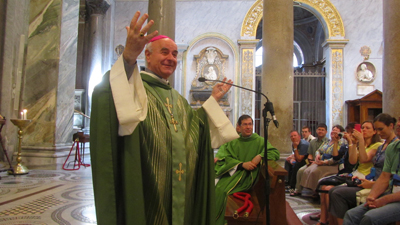 Archbishop Vincenzo Paglia, President of the Pontifical Council for the Family, shares some extemporaneous remarks with