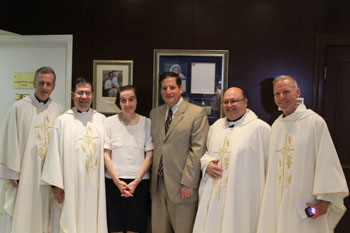 Dr. Molla and Thomas McKenna (center) with a few of the Priests of Priests for Life, Fr. Peter West, Fr. Frank Pavone, Fr. Victor Salomon and Fr. Denis Wilde, OSA
