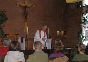 Fr Denis preaching at Northern Arizona Univesity, Flagstaff, AZ