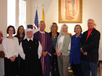 From Left to Right- Dianne Harbin (MEV promise), Lisa Fowler (plans to promise), Sister John Mary (MEV promise), Father Denis Wilde, Patricia Palmer (waiting to promise), Denise Cantu (waiting to promise), Kathy and Bob Gilbert (MEV AZ Liaisons)