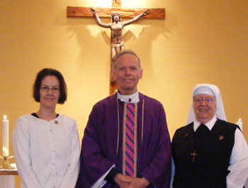 Sister John Mary and Dianne Harbin, Father Denis Wilde, MEV Promise Ceremony, Our Lady of Guadalupe parish, Queen Creek, AZ , 2-21-2010, 11:30am mass