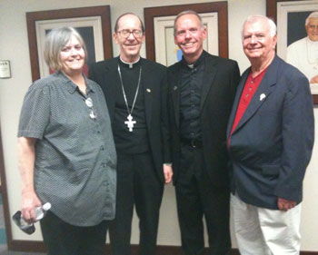 Meeting at Phoenix Pastoral Center with Bishop Thomas Olmsted and MEVs Bob and Kathy Gilbert, hosts for Fr Denis at several parishes in Arizona.