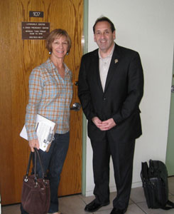 Jim Pinto with Patti Sharpe (Board Member and Event Organizer) at the entry of Living Help Center